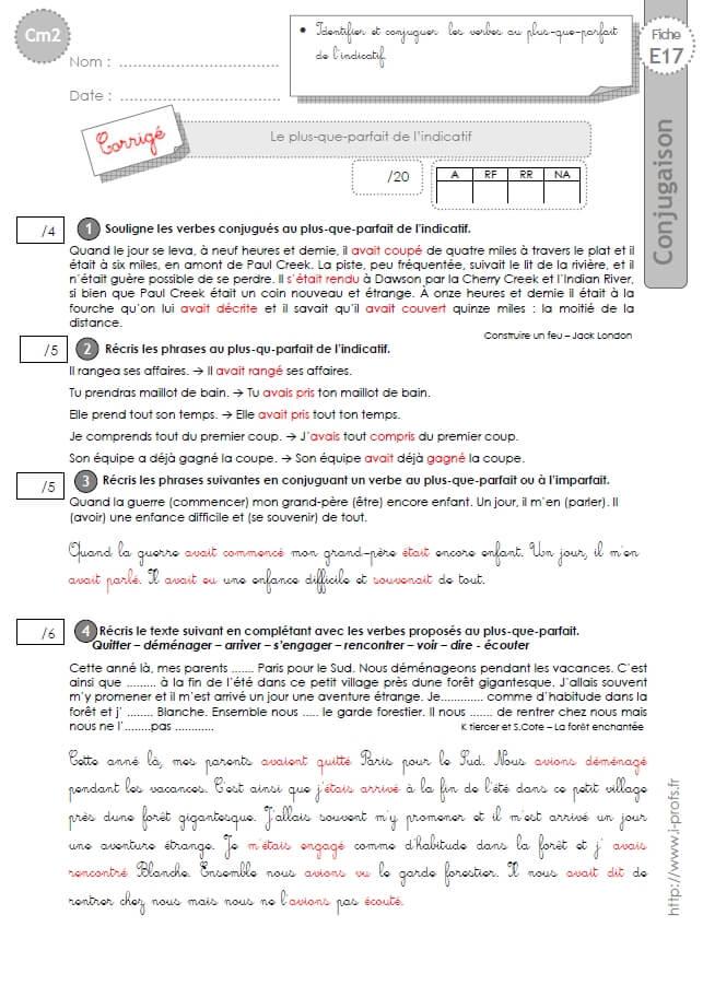 Cm2 evaluation conjugaison corrig s le plus que parfait - Conjugaison cm2 a imprimer ...