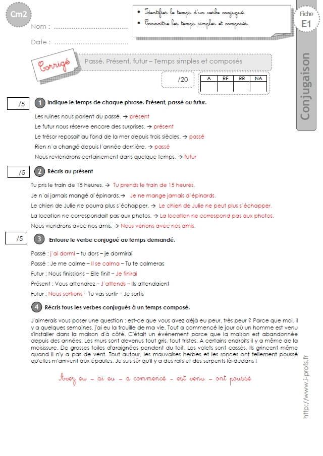 Cm2 Evaluation Conjugaison Corrigees Passe Present Futur Temps Simples Et Composes