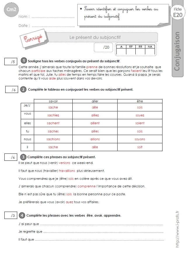 Cm2 Evaluation Conjugaison Corriges Le Present Du Subjonctif