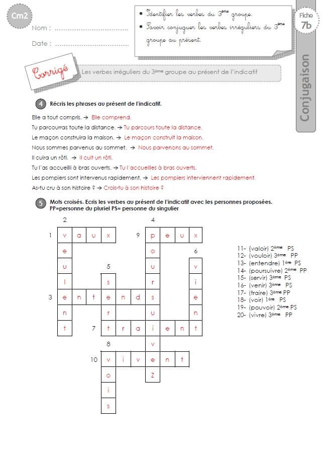 Cm2 Exercices Conjugaison Corriges Present Verbes Irreguliers Du 3eme Groupe