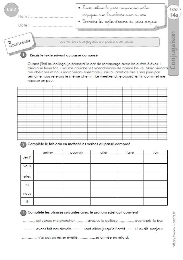 CM2:EXERCICES CONJUGAISON corrigés Le passé composé