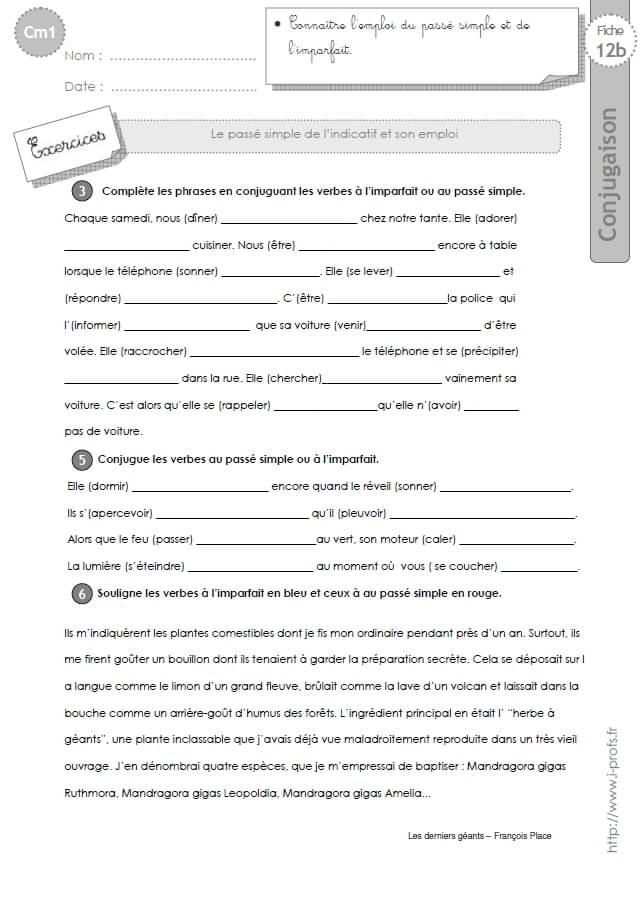 Cm2 Exercices Conjugaison Corriges Le Passe Simple Et Son Emploi