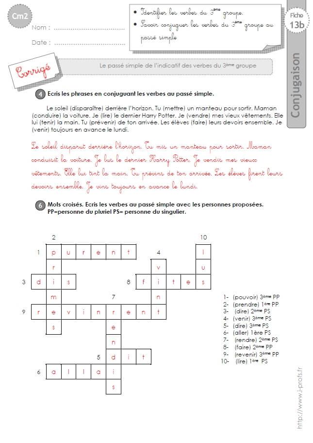 Cm2 Exercices Conjugaison Corriges Le Passe Simple Des Verbes Du 3eme Groupe