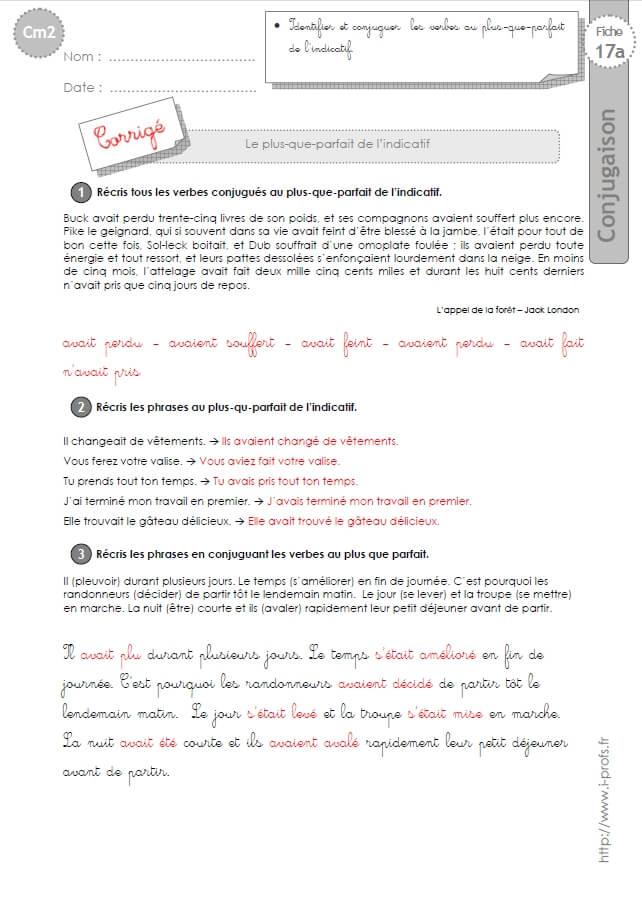 Cm2 Exercices Conjugaison Corriges Le Plus Que Parfait