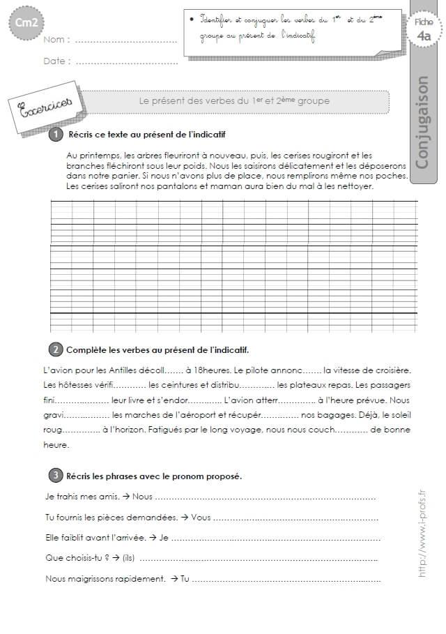 Cm2 Exercices Conjugaison Corriges Present Verbes Du 1er Et 2eme Groupe