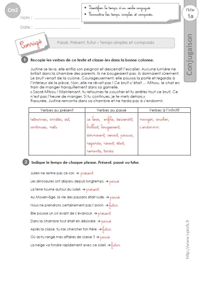Cm2 Exercices Conjugaison Corriges Passe Present Futur Temps Simples Et Composes