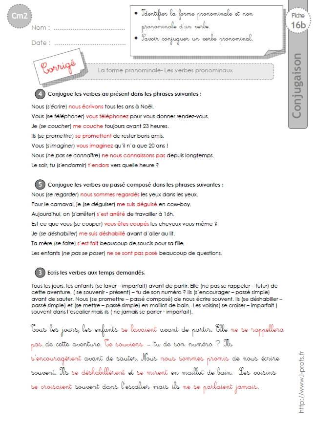 Cm2 Exercices Conjugaison Corriges Les Verbes Pronominaux