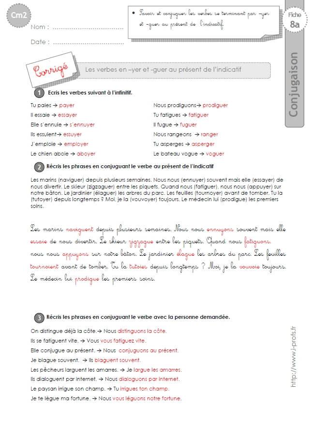 CM2:EXERCICES CONJUGAISON corrigés Présent verbes en yer ...