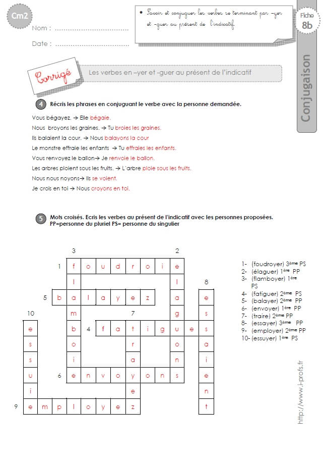 Cm2 Exercices Conjugaison Corriges Present Verbes En Yer Et Guer