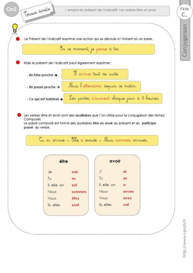 Cm2 Lecon Conjugaison Corriges Les Verbes Etre Et Avoir Au Present