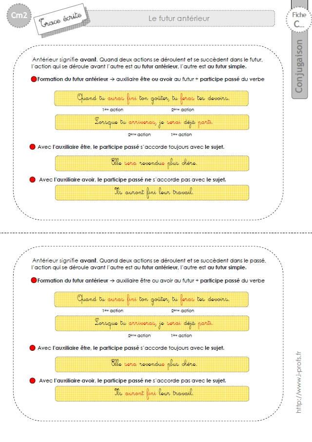 Cm2 Lecon Conjugaison Corriges Futur Anterieur