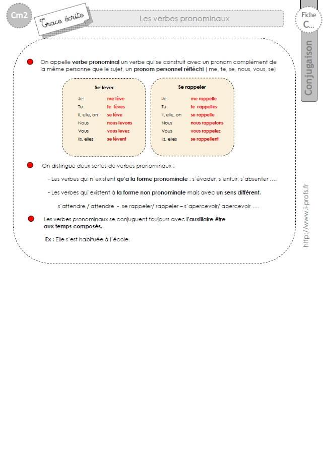 Cm2 Lecon Conjugaison Corriges Les Verbes Pronominaux