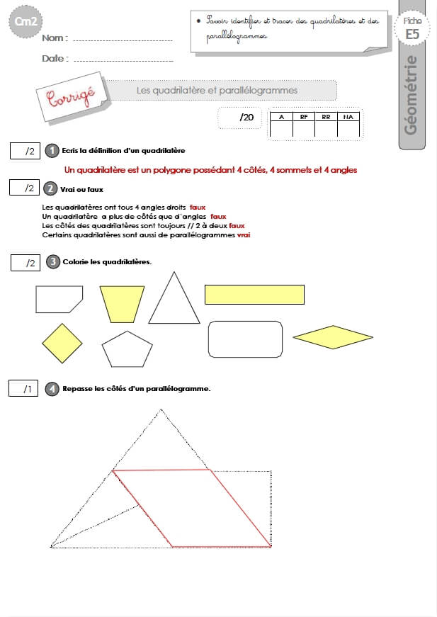 cm2: Evaluation les PARALLÉLOGRAMMES ET QUADRILATÈRES ...