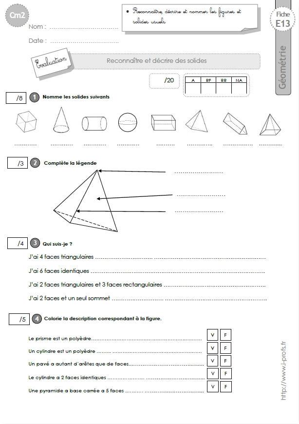 Cm2 Evaluation Les Polyèdres Non Polyedres