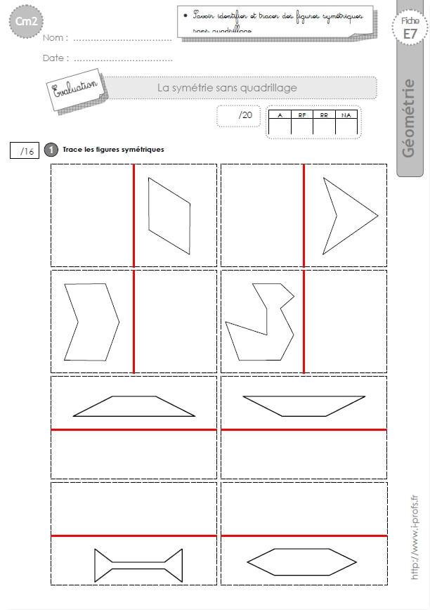 Célèbre cm2: Evaluation la SYMETRIE AXIALE figures symétriques SQ76