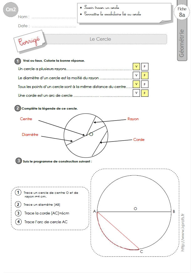 cm1: Exercices le CERCLE construire un cercle