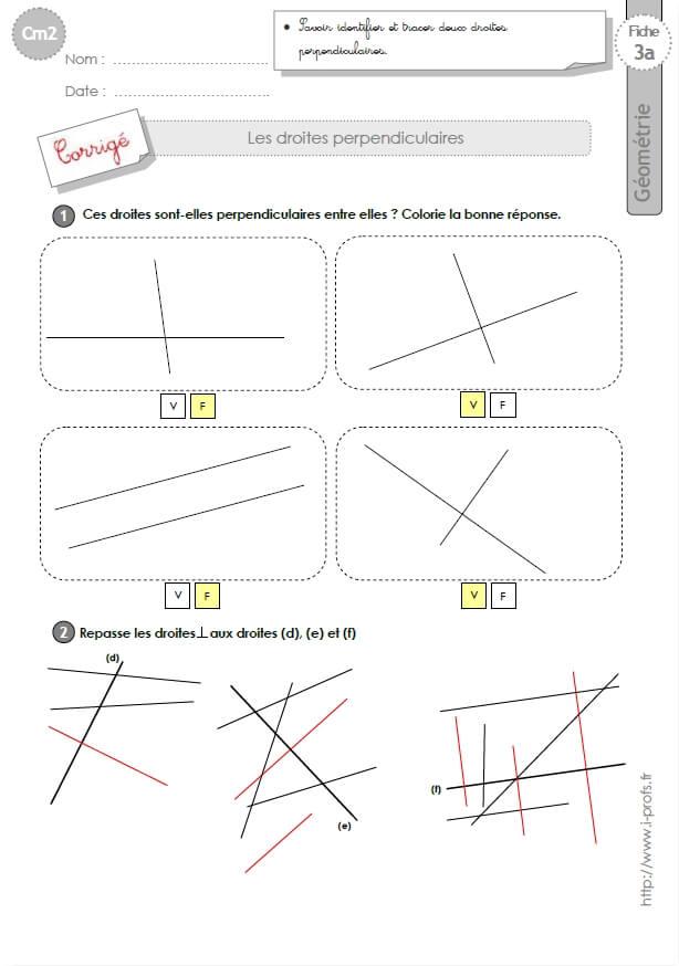 Préférence cm2: Exercices LES DROITES PERPENDICULAIRES OE37