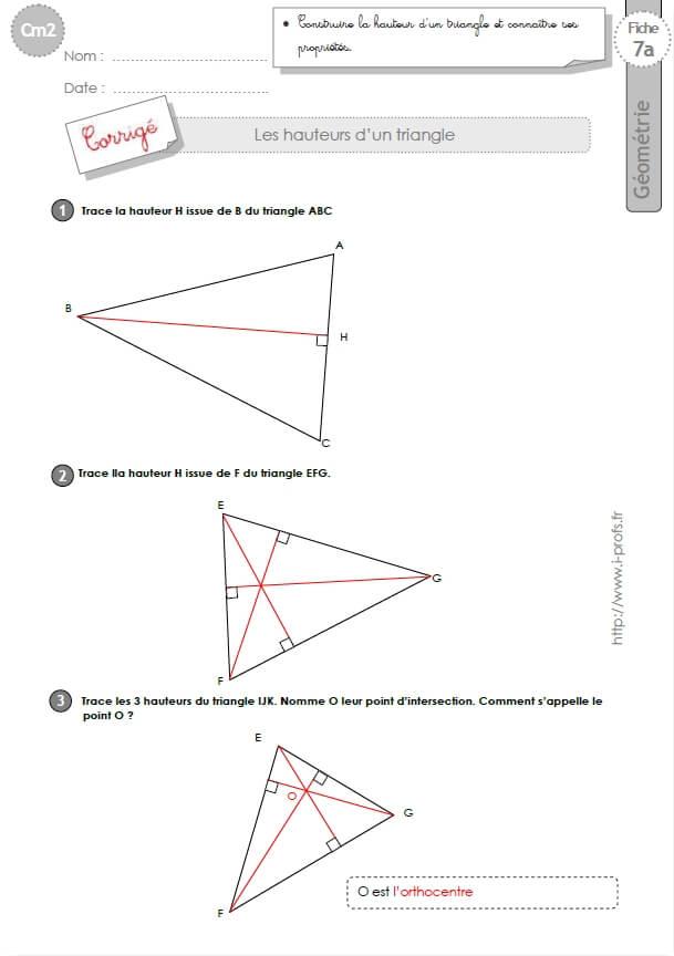 Préférence cm2: Exercices HAUTEUR DU TRIANGLE BI19