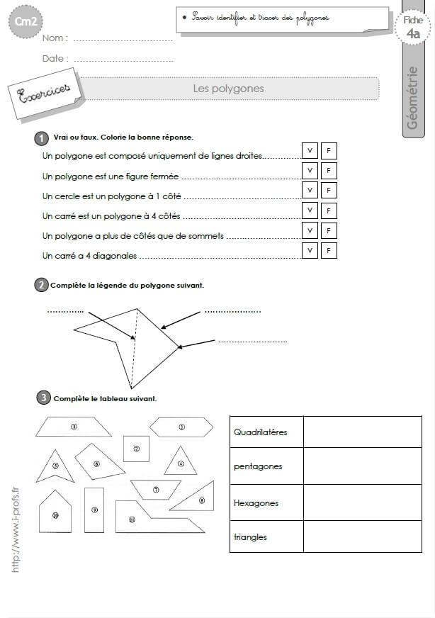 Cm2 g om trie fiches i profs - A portee de maths cm2 en ligne ...