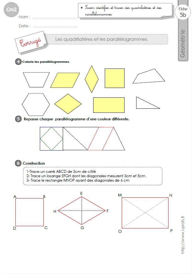 exercices tracer des quadrilatères cm2