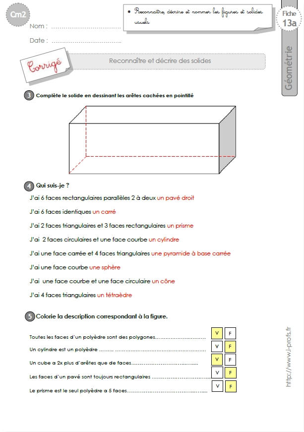 cm1: Exercices les SOLIDES pavé, cube, prisme, pyramide ...