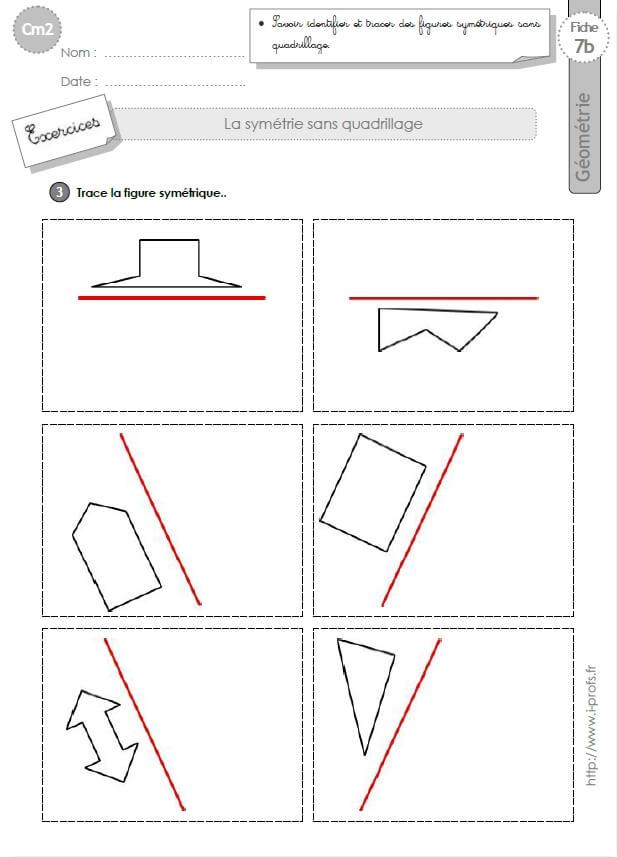 Préférence cm2: Exercices la SYMETRIE AXIALE SANS QUADRILLAGE figures symétriques BI19