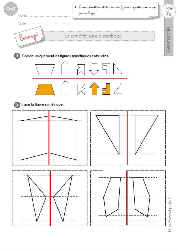 Préférence cm2: Exercices la SYMETRIE AXIALE SANS QUADRILLAGE figures symétriques OE37