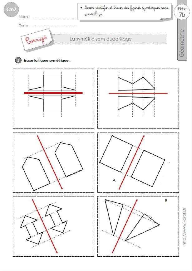 Connu cm2: Exercices la SYMETRIE AXIALE SANS QUADRILLAGE figures symétriques RV97