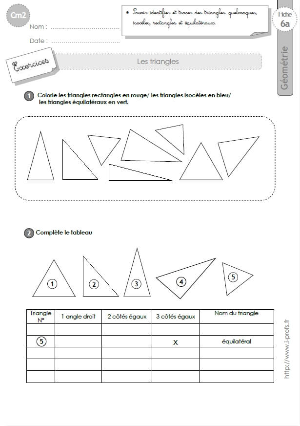 Top cm1: Exercices les TRIANGLES isoceles, equilateral, rectangle ZQ59