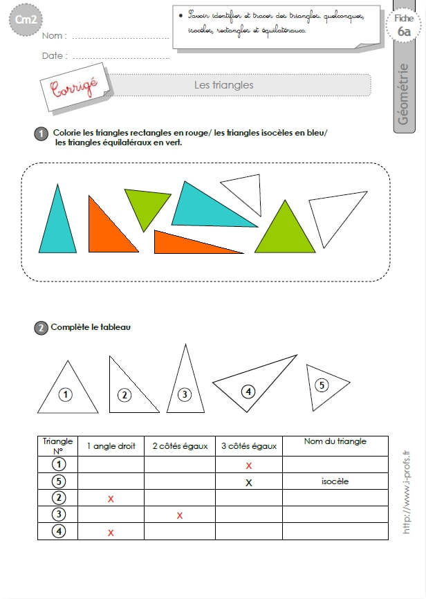 Connu cm1: Exercices les TRIANGLES isoceles, equilateral, rectangle RV97