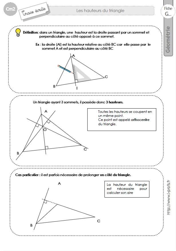 Préférence cm2: Lecon HAUTEUR DU TRIANGLE OE37