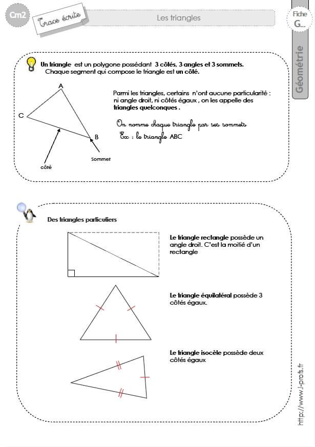 Préférence cm1: Leçon LES TRIANGLES isocele, equilateral, rectangle, quelconque OE37
