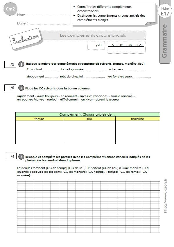 CM2: EVALUATION Les complements circonstanciels