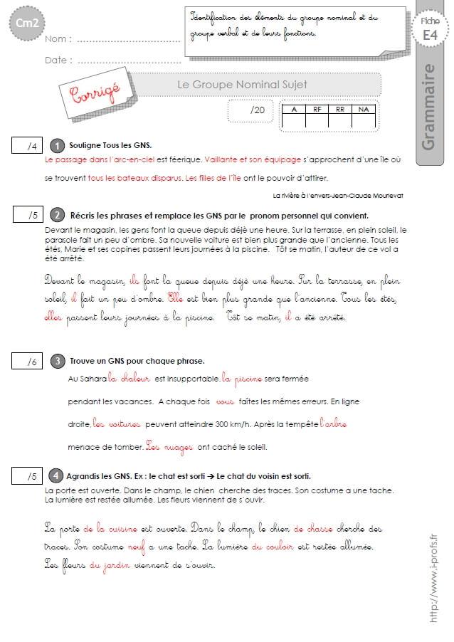 CM2: EVALUATION Le Groupe Nom Sujet