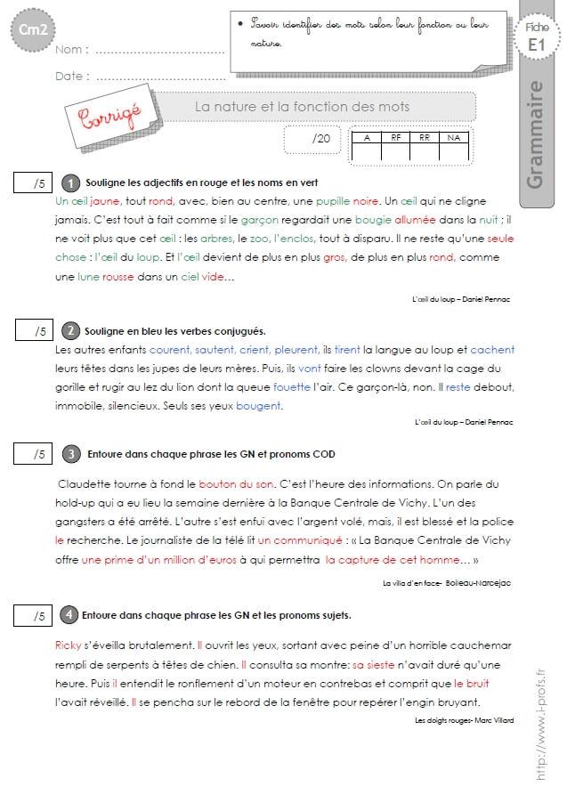 Cm2 Evaluation Nature Et Fonction Des Mots