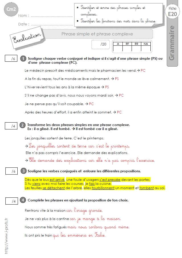 CM2: EVALUATION phrase simple phrase complexe