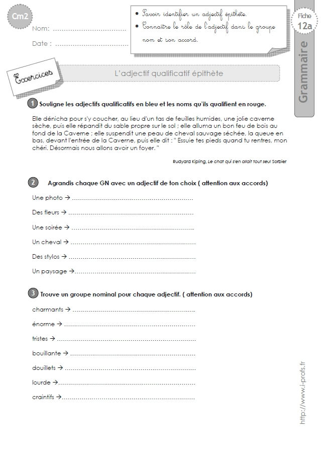 Cm2 Exercices L Adjectif Epithete