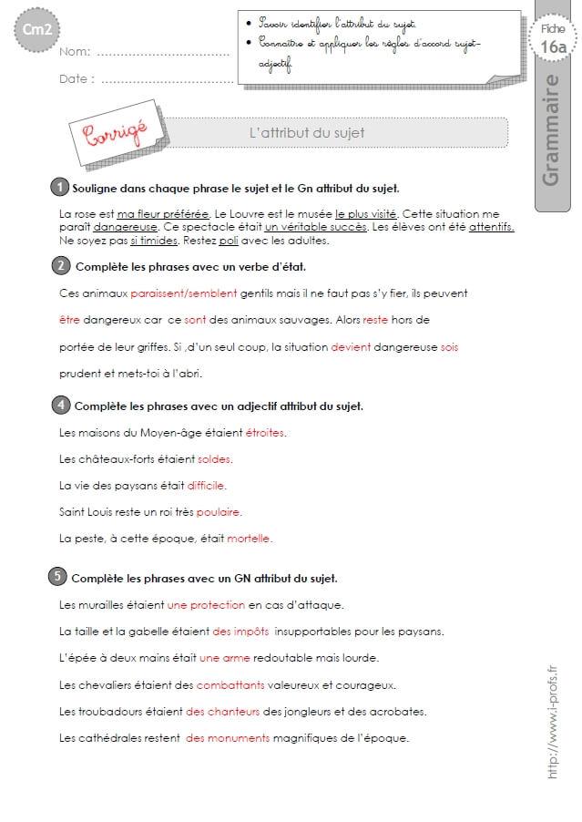 Cm2 Exercices L Attribut Du Sujet