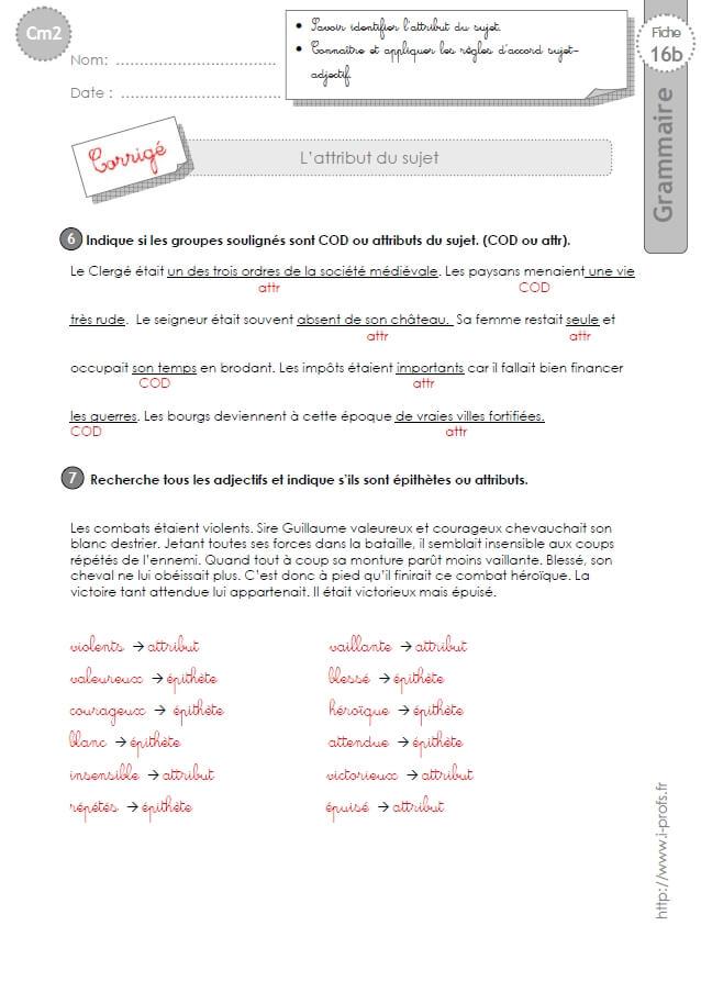 CM2: EXERCICES L'Attribut du Sujet