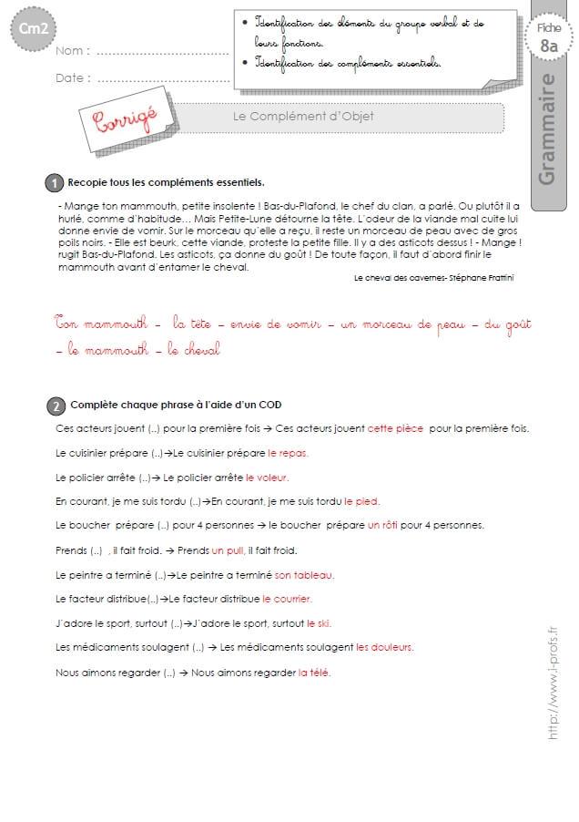 Cm2 Exercices Le Complement D Objet Cod Et Coi