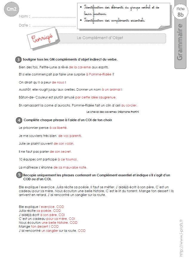 CM2: EXERCICES Le Complément d'Objet COD et COI