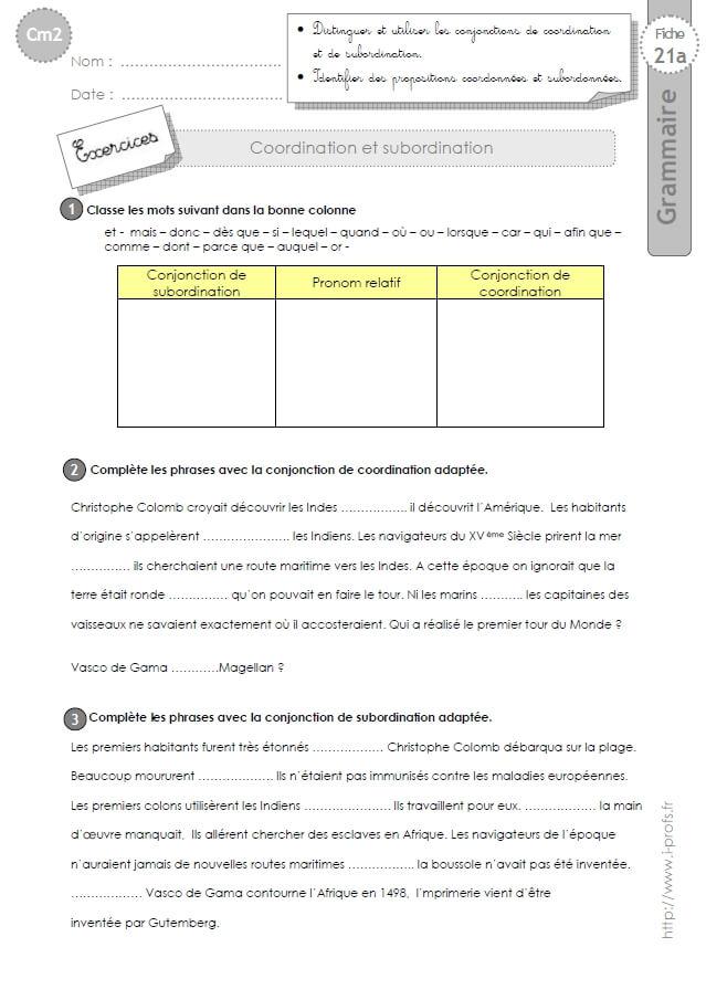 CM2: EXERCICES Coordination et Subordination