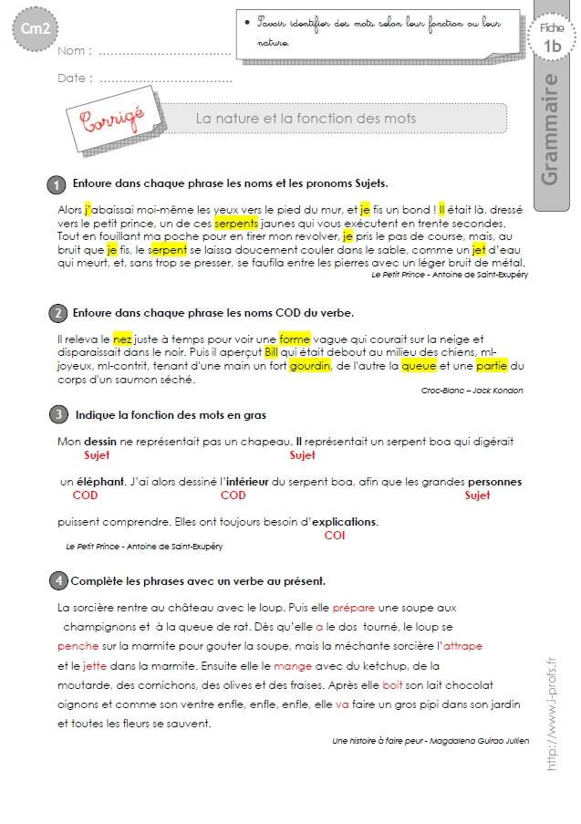 Cm2 Exercices Nature Et Fonction Des Mots