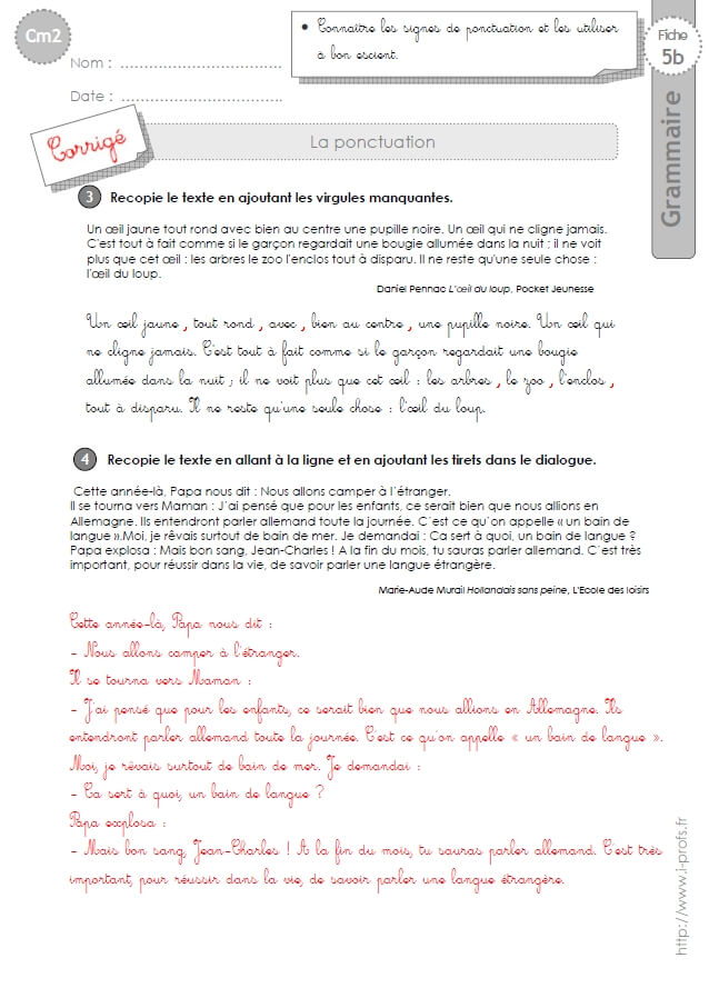 cm2: GRAMMAIRE-fiches i-profs
