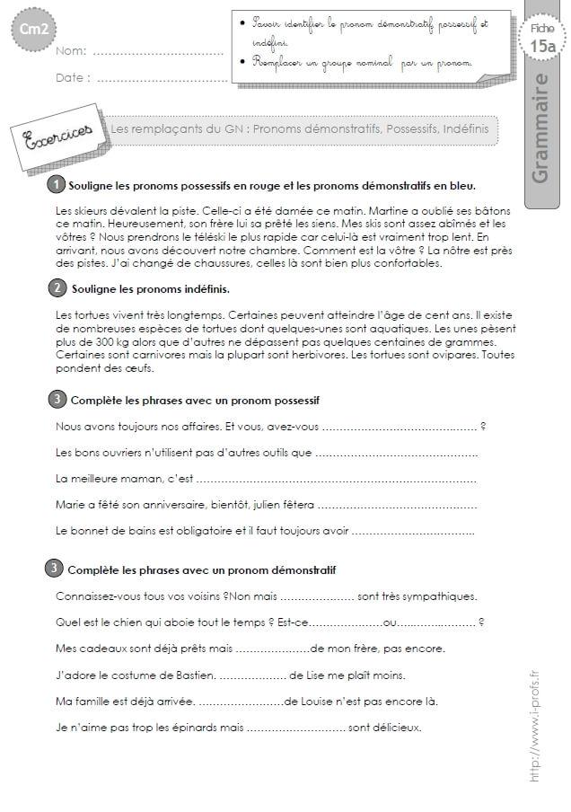 Cm2 Exercices Les Pronoms Demonstratifs Possessifs Et Indefinis