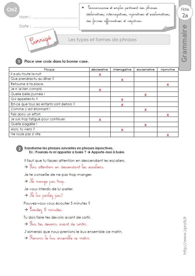 Cm2 Exercices Types Et Formes De Phrases