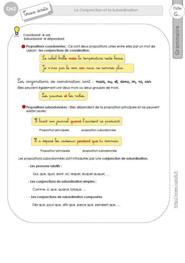 Cm2 Lecon Coordination Et Subordination
