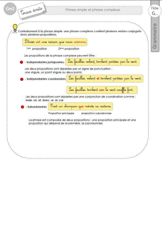 CM2: LECON phrase simple phrase complexe