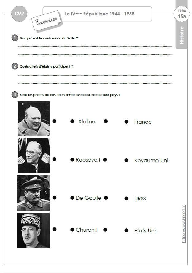 cm2: HISTOIRE- XXème Siècle - La 4ème République Exercices ...