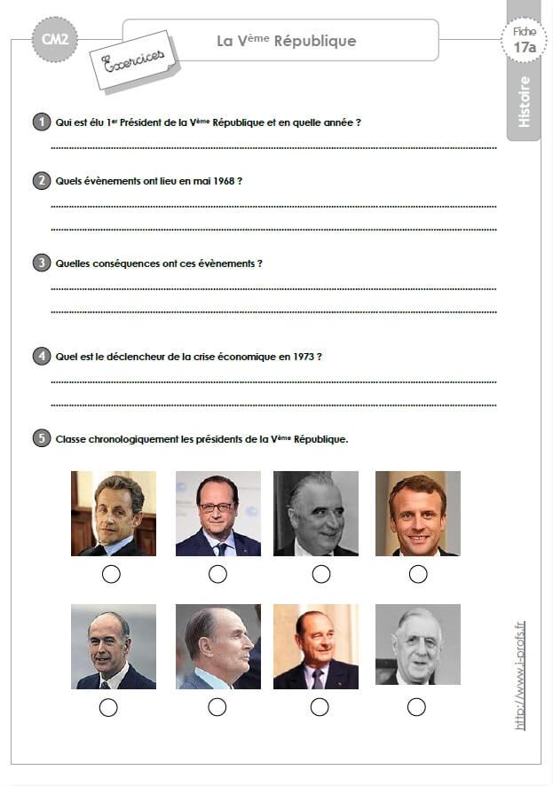 Cm2 Histoire La 5eme Republique Exercices Corriges
